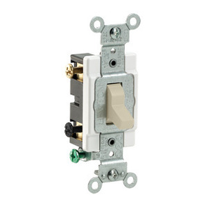 Leviton CS220-2I Double Pole Switch, 20 Amp, 120/27V, Ivory, Side Wired, Commercial