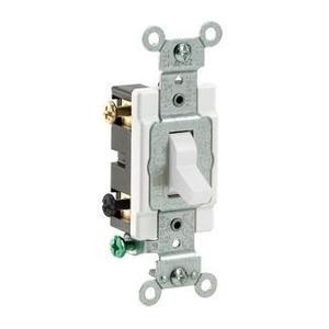 Leviton CS220-2W Double Pole Switch, 20 Amp, 120/27V, White, Side Wired, Commercial