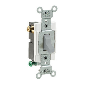 Leviton CS315-2GY 3-Way Switch, 15 Amp, 120/27V, Gray, Side Wired, Commercial Grade