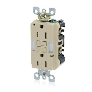Leviton GFNL1-I 15A GFCI Receptacle, 20A Feed-Through, 125V, Ivory, Guide Light