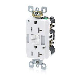 Leviton GFNL2-W Duplex GFCI Receptacle  w/ Guide Light, 15A, 125V, White