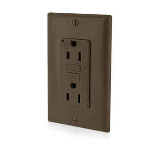 Leviton GFNT1 GFCI Receptacle, 15A, 125V Narrow, Brown