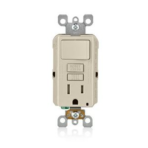 Leviton GFSW1-T 15 Amp, 125 Volt Combination GFCI, Light Almond