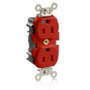 Leviton M8200-R Hospital Grade Duplex Modular Receptacle, 15A, 125V, Red, Heavy Duty