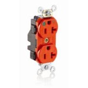 Leviton M8300-IG 20 Amp, 125 Volt, NEMA 5-20R, 2P, 3W, Lev-Lok Duplex Receptacle, Straight Blade, Hospital Grade, Isolated Ground, Modular Terminals, Plated Steel Strap - ORANGE