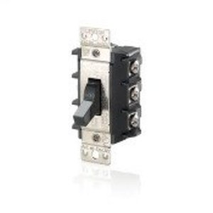 Leviton MS303-DS Manual Motor Switch 30A 600VAC, Standard Toggle, 3P Black