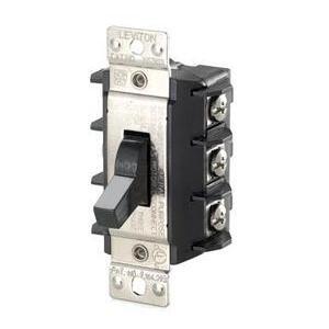 Leviton MS303-DSS Manual Motor Switch, 30A, 600VAC, Short Toggle, 3P, Black