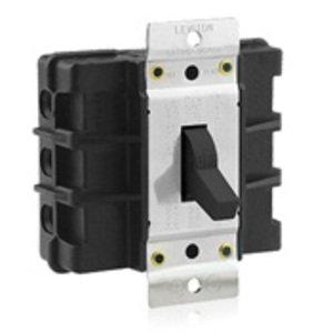 Leviton MS603-BW Manual Motor Switch, 60A, 600VAC, Short Toggle Style, 3P, Black