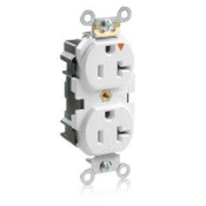 Leviton MT563-IGW Duplex Receptacle, 20A, 125V, White