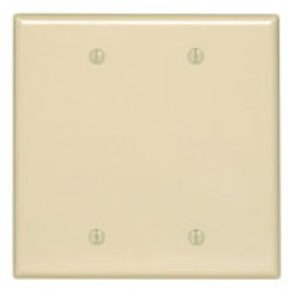 Leviton PJ23-I Blank Wallplate, 2-Gang, Nylon, Ivory, Midway
