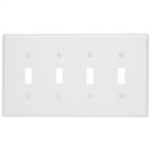Leviton PJ4-W Toggle Wallplate, 4-Gang, Nylon, White, Midway
