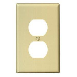 Leviton PJ8-I Duplex Receptacle Wallplate, 1-Gang, Nylon, Ivory, Midway