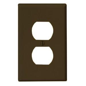 Leviton PJ8 Duplex Receptacle Wallplate, 1-Gang, Nylon, Brown, Midway