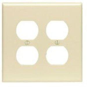 Leviton PJ82-I Duplex Receptacle Wallplate, 2-Gang, Nylon, Ivory, Midway