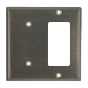 Leviton S1426-N Comb. Wallplate, 2-Gang, Blank/Decora, 302 Stainless Steel