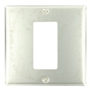 Leviton S746-N Decora Wallplate, 2-Gang, (1) Opening, 302 Stainless Steel
