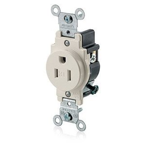 Leviton T5015-T Tamper Resistant Single Receptacle, 15A, 125V, Light Almond