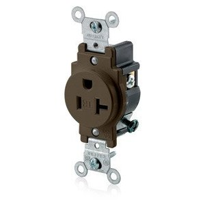 Leviton T5020 Narrow Single Receptacle,20A, 125V, 5-20R,  Tamper Resistant, Brown