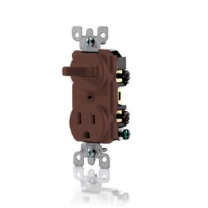 Leviton T5225 Combination Toggle Switch / Receptacle, 15A, Brown