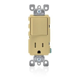 Leviton T5625-I Combination Rocker Switch / Receptacle, 15A, Ivory