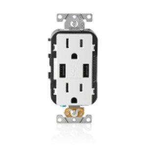 Leviton T5632-SW LEV T5632-SW 15A TR RECPT USB CHRG