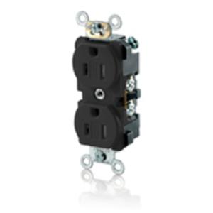 Leviton TBR15-E 15 Amp Duplex Receptacle, 125V, 5-15R, Comm Grade, Back/Side
