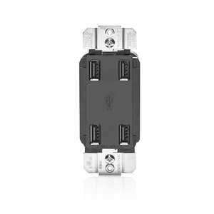 Leviton USB4P-E 4 Port USB Receptacle Device Black