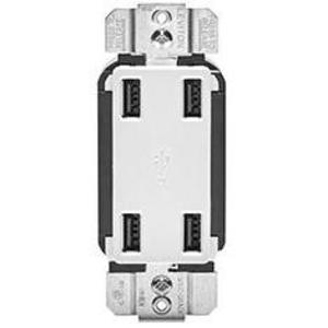 Leviton USB4P-W USB Receptacle Device, 4-Port, White