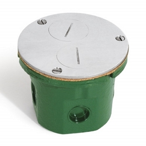 "Lew 812-DFB-A Floor Box Assembly, Duplex Receptacle, 4"" Diameter, Metallic"
