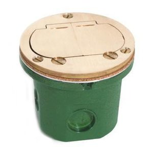 "Lew 812-DFB-LR Duplex Receptacle, 4"" Diameter, Floor Box Assembly"