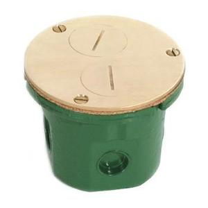 "Lew 812-DFB Floor Box Assembly, Duplex Receptacle, 4"" Diameter, Metallic"