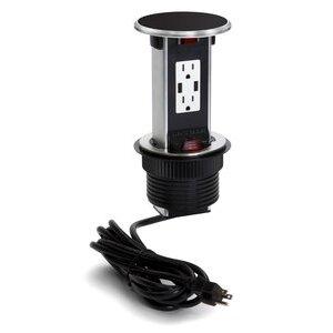 Lew PUR15-BK Countertop Power Center, Power/USB Receptacle, Black