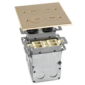 Lew SWB-4PQ Floor Box Assembly, Includes Duplex Receptacle, Brass Floor Plate