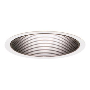 "Lightolier 1005WH Step Baffle Reflector Trim, 5"", White Baffle/White Trim"