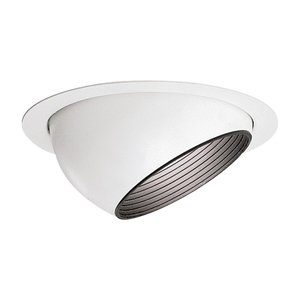 "Lightolier 1182 Eyeball Trim, Step Baffle, 6-3/4"", Gloss White"