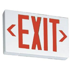 Lithonia Lighting EXRLEDELM6 Exit Sign, LED, White, Red Letters, 120/277V