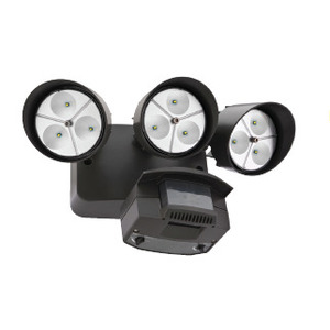 Lithonia Lighting OFLR9LN120PBZM2 LED Floodlight, w/ Motion Sensor, 3-Head, 9-LED, 32.5W, 120V, Bronze