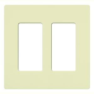 Lutron CW-2-AL Dimmer/Fan Control Wallplate, 2-Gang, Almond, Claro Series