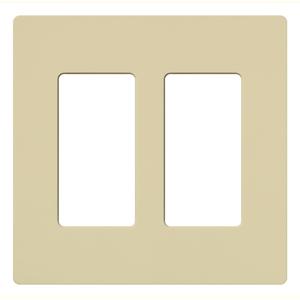 Lutron CW-2-IV Dimmer/Fan Control Wallplate, 2-Gang, Ivory, Claro Series