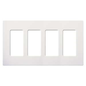 Lutron CW-4-WH Dimmer/Fan Control Wallplate, 4-Gang, White, Claro Series