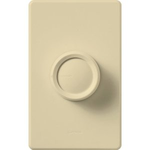 Lutron D-603PGH-IV Rotary Dimmer, Push On/Off, 3-Way, Ivory