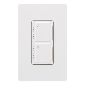 Lutron MA-LFQHW-WH Dimmer/Fan Control, Incandescent, Meastro, White