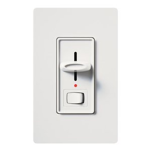 Lutron S-603PNL-WH Slide Dimmer, Locator Light, Rocker Switch, White