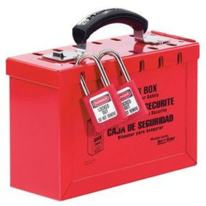 Master Lock 498A Portable Red Group Lock Box, Accommodates Up To 12 Workers
