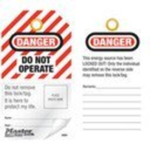 Master Lock S4801 Danger Do Not Operate, English Photo ID Safety Tag