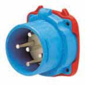 Meltric 33-18043-972 Pin & Sleeve Inlet, 20A, 480V, 3P4W, Black, Watertight, 2 Contacts