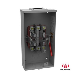 Milbank U9800-RRL-QG-BL-NE Meter Base, 200A, 600VAC, 4 Jaw, Ringless, OH Service, Blank Hub