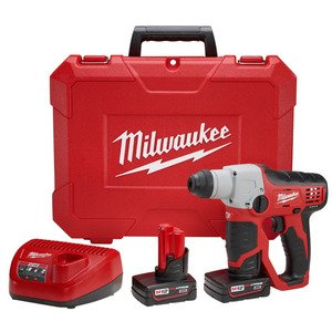 Milwaukee 2412-22XC SDS-Plus Rotary Hammer Kit, Cordless, M12, Lithium-Ion, 1/2""