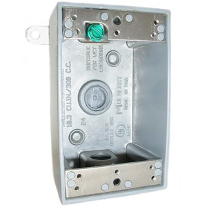 """Mulberry Metal 30584 Weatherproof Outlet Box, 1-Gang, 2-5/8"""" Deep, (3) 3/4"""" Hubs, Aluminum"""
