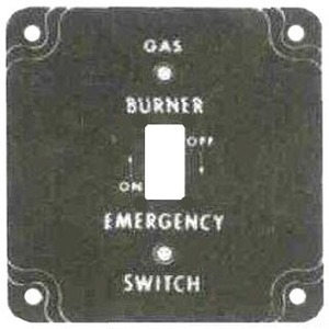 """Mulberry Metal 41025 4"""" Square Gas Burner Cover, 1/2"""" Raised, Red, White Letters"""